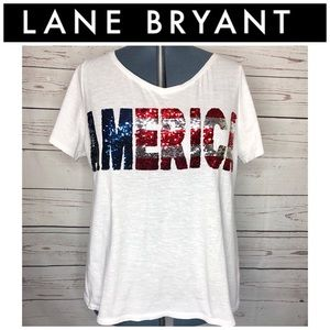 """Lane Bryant """"AMERICA"""" Movable Sequin Tee Size 18"""